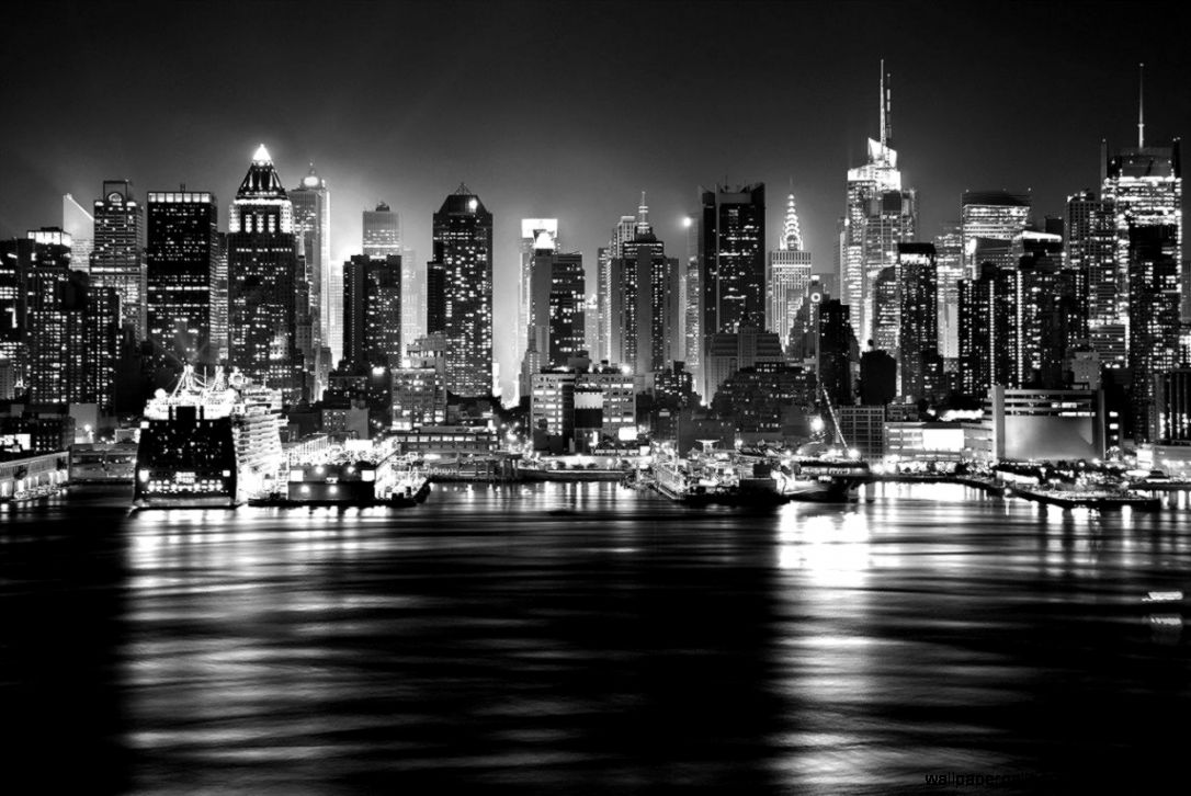 Skyline New York View Black And White Hd Wallpaper