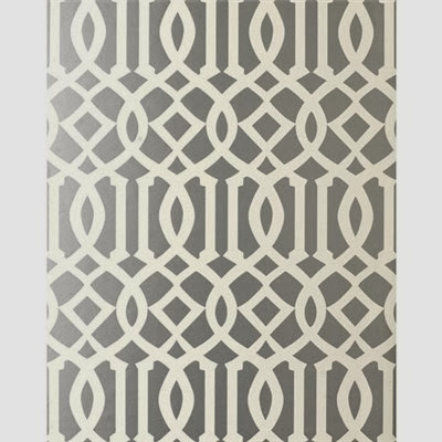 Grey Kelly Wearstler Imperial Trellis Wallpaper
