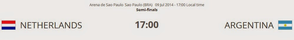 Netherlands vs. Argentina live 2014 FIFA WORLD CUP Semi-finals on 09 Jul 2014