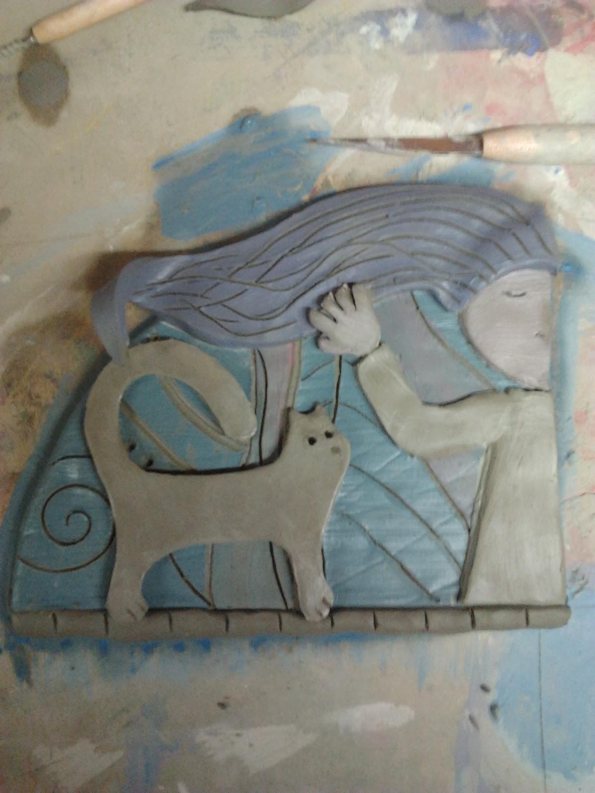mattonella decorativa ceramica fatta a mano formae mentis gatto
