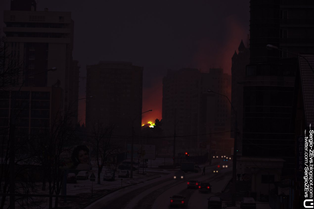 БлэкАут, пожар в городе
