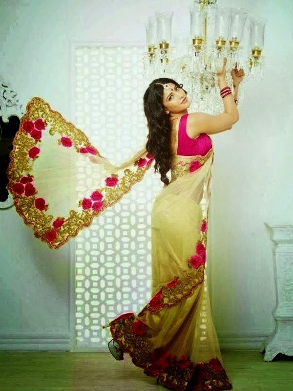 Shruti Haasan showing off her back in saree