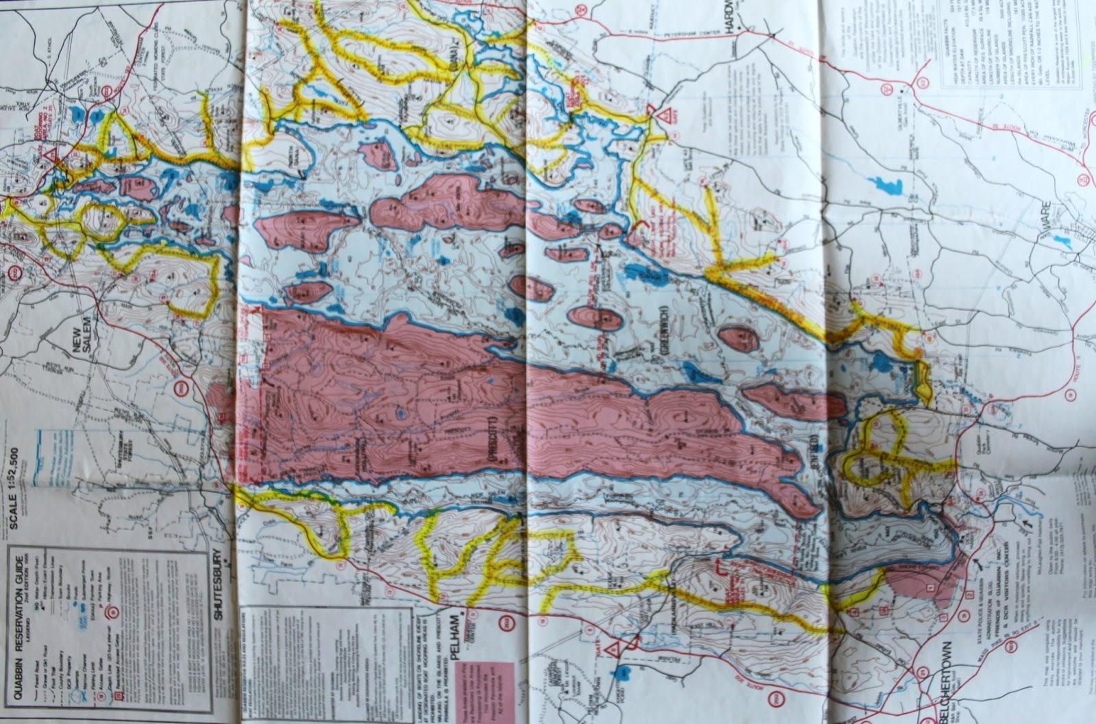 Quabbin Reservoir Hiking Map on