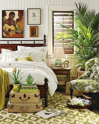 Eye for design decorating with the brown lime green for Plantation style bed