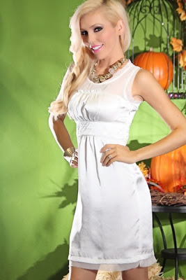WHITE CHIFFON SHEER SATIN SLEEVELESS SIDE ZIPPER DRESS