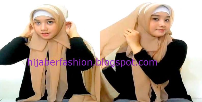 Langkah ketiga, pasang jilbab pashmina dengan satu sisi lebih pendek ...