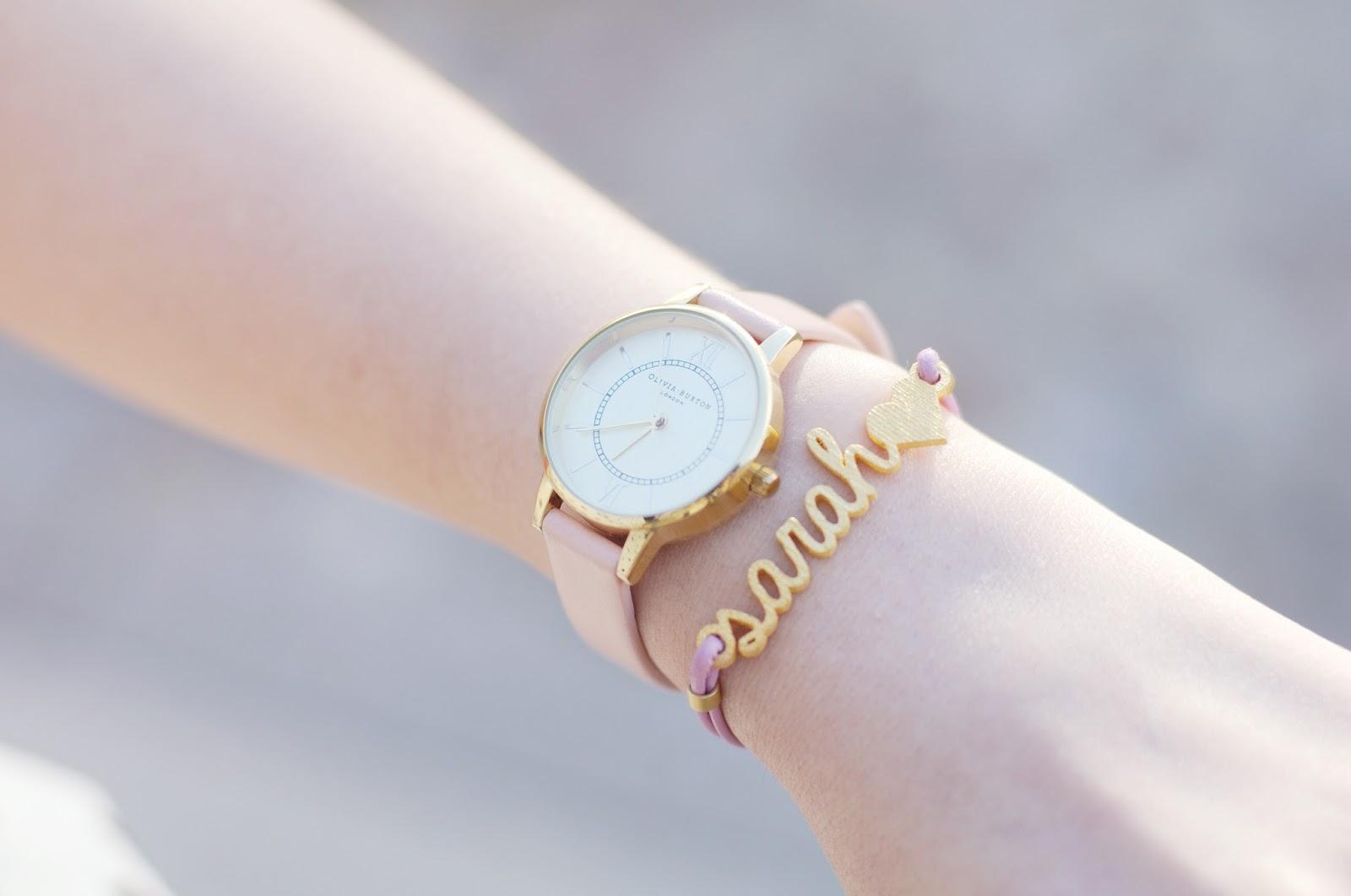 personalised jewellery, name bracelet, olivia burton watch