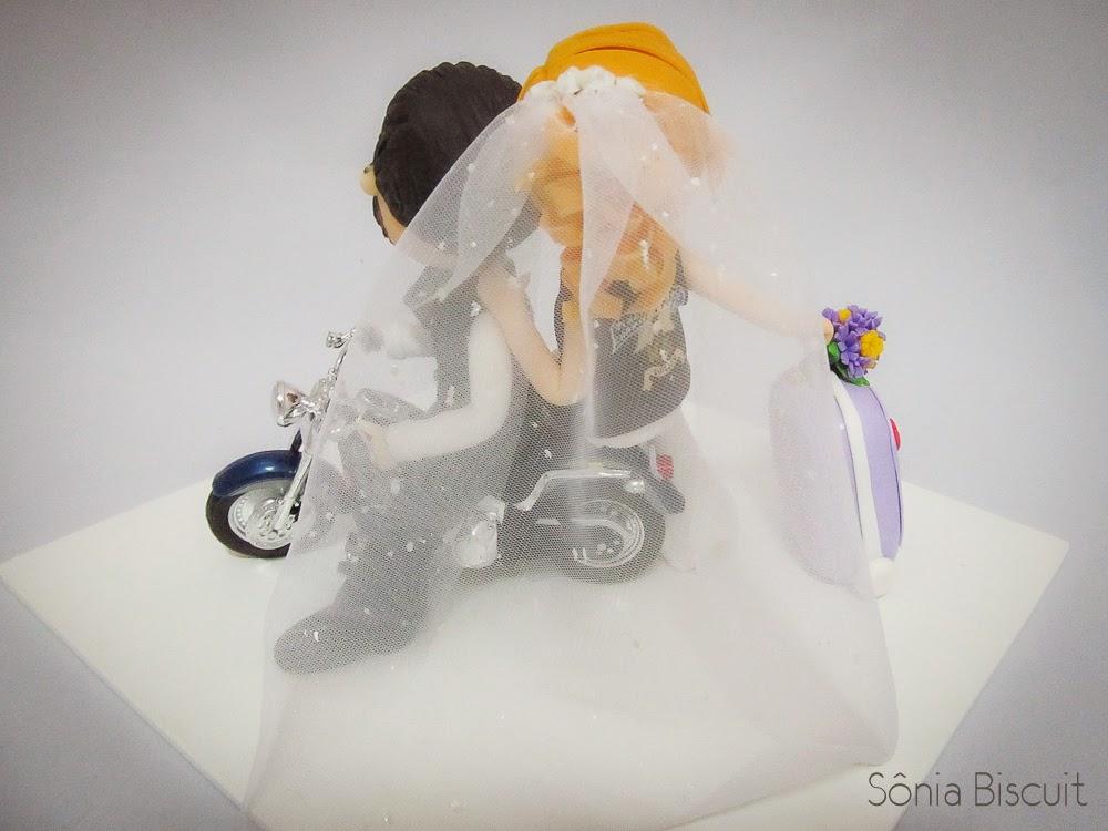 Harley-Davidson Noivinhos Biscuit Topo de Bolo