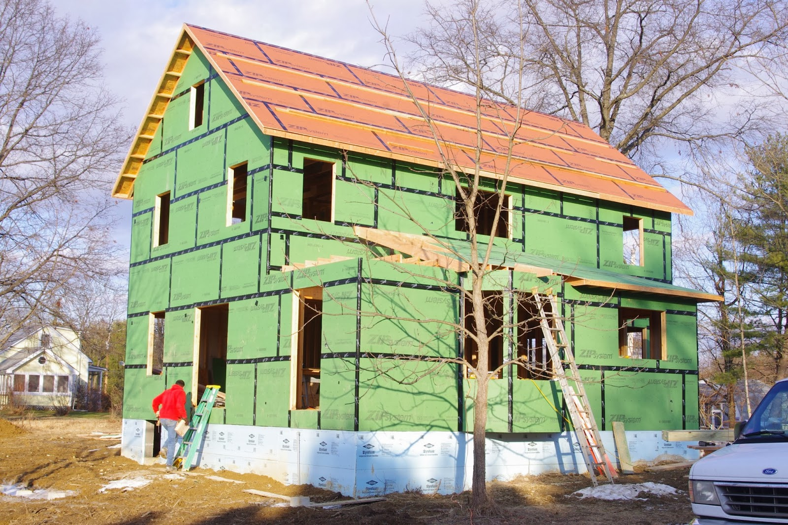 The new house next door sheathing part ii for Sheathing house wrap