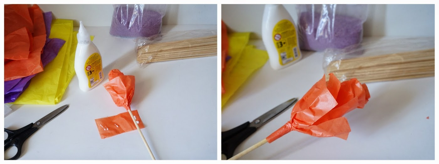 Como fazer flores de papel: etapa de colar as tiras de papel