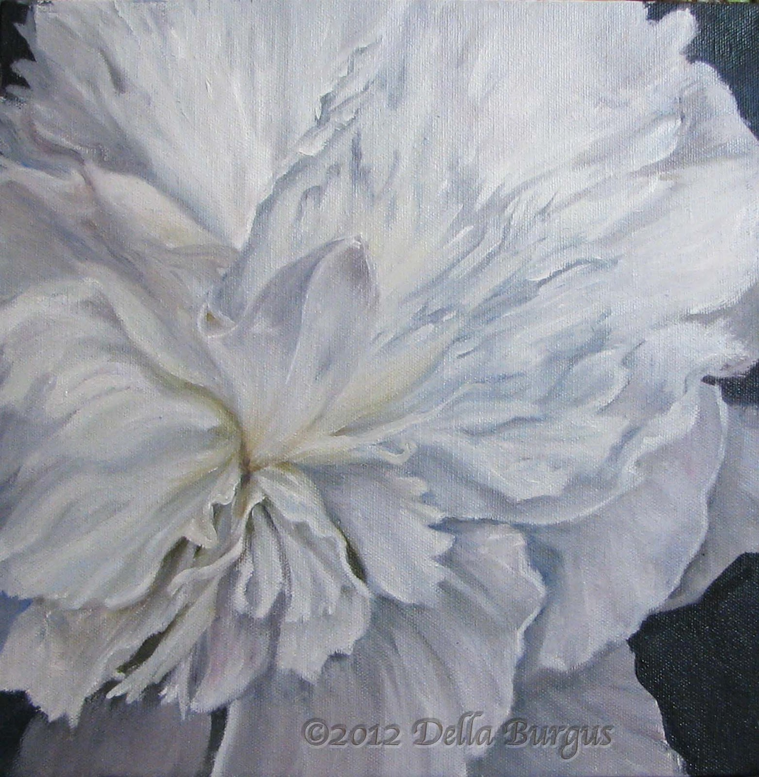 Art helping animals floral art flowers white peony by for White canvas painting