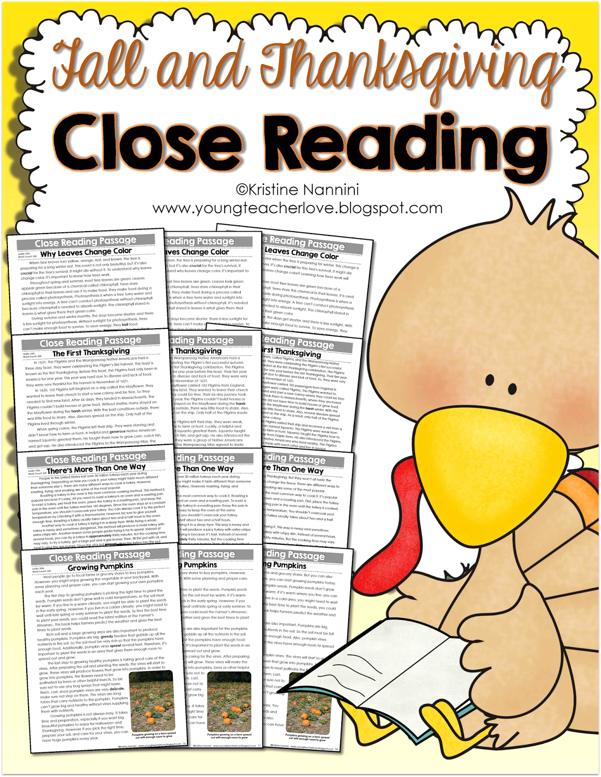 Fall and Thanksgiving Close Reading Passages, Text-Dependent Questions & More- Young Teacher Love by Kristine Nannini