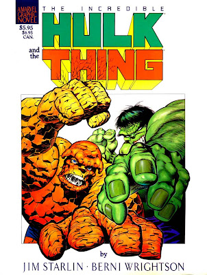 Incredible Hulk and the Thing graphic novel comic book cover art by Bernie Wrightson