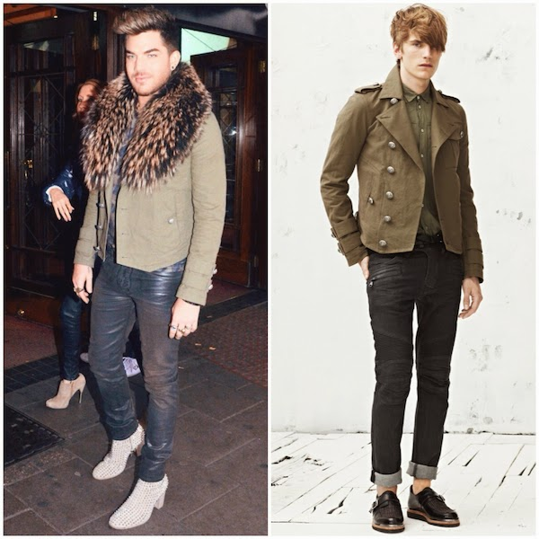 Adam Lambert Balmain military khaki Spring Summer 2013 jacket with fur collar at We Will Rock You Dominion Theatre West End London