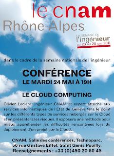 Flyer : CONFÉRENCE LE MARDI 24 MAI À 19H, LE CLOUD COMPUTING, Olivier Leclère, ingénieur CNAM