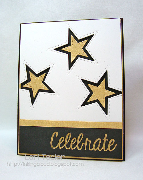 Celebrate-designed by Lori Tecler-Inking Aloud-stamps and dies from Lil' Inker Designs