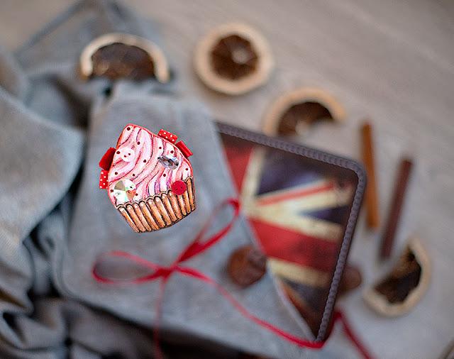 Брошь, Буслова Евгения, ручная работа, пирожное, сладкое, десерт