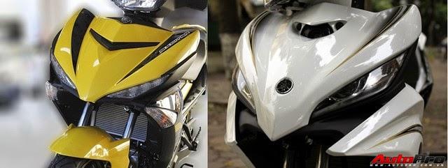 Mặt nạ trước của Yamaha Exciter 150 (bên trái màn hình) và 135.