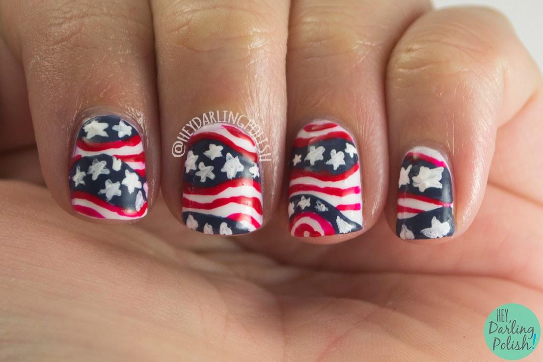 nails, nail art, nail polish, america, july 4th, red, white, blue, stars, stripes, murica, the nail art guild, hey darling polish