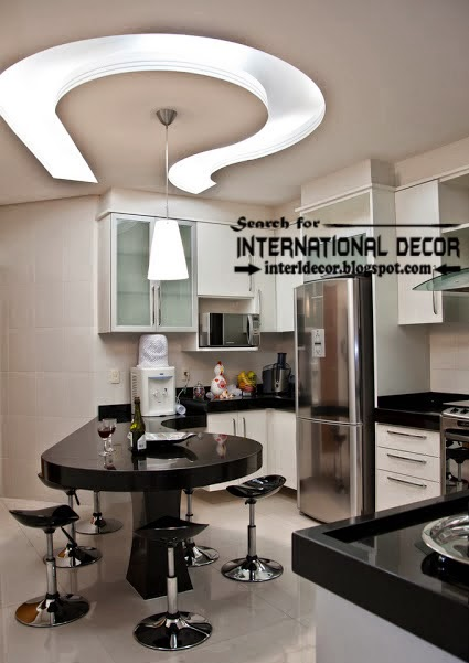 Contemporary kitchen ceiling designs and backlight, gypsum ceiling for kitchen