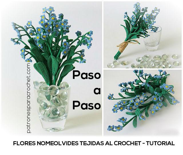 Flores Nomeolvides tejidas al crochet - Paso a paso | Patrones para ...