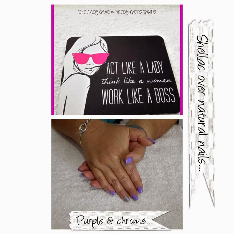 Gel polishes metallic chrome silver customizing colors by layering with Shellac Shellac purple and chrome silver manicure