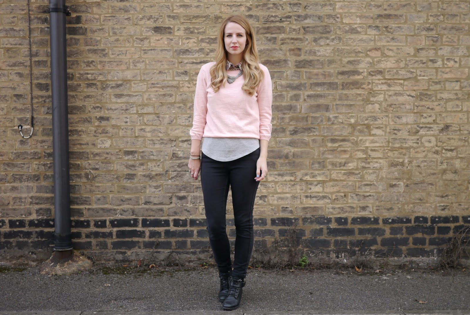 New Look Pastel Pink Jumper with Jamie Jeans and Office Boots