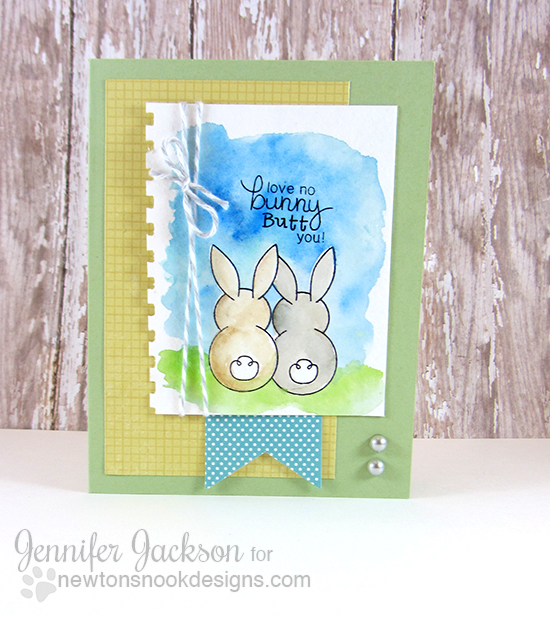 Watercolor Bunny Card by Jennifer Jackson using Bunny Hop Stamp set by Newton's Nook Designs