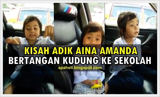 Kecekalan Adik Aina Amanda Bertangan Kudung Ke Sekolah (Video)