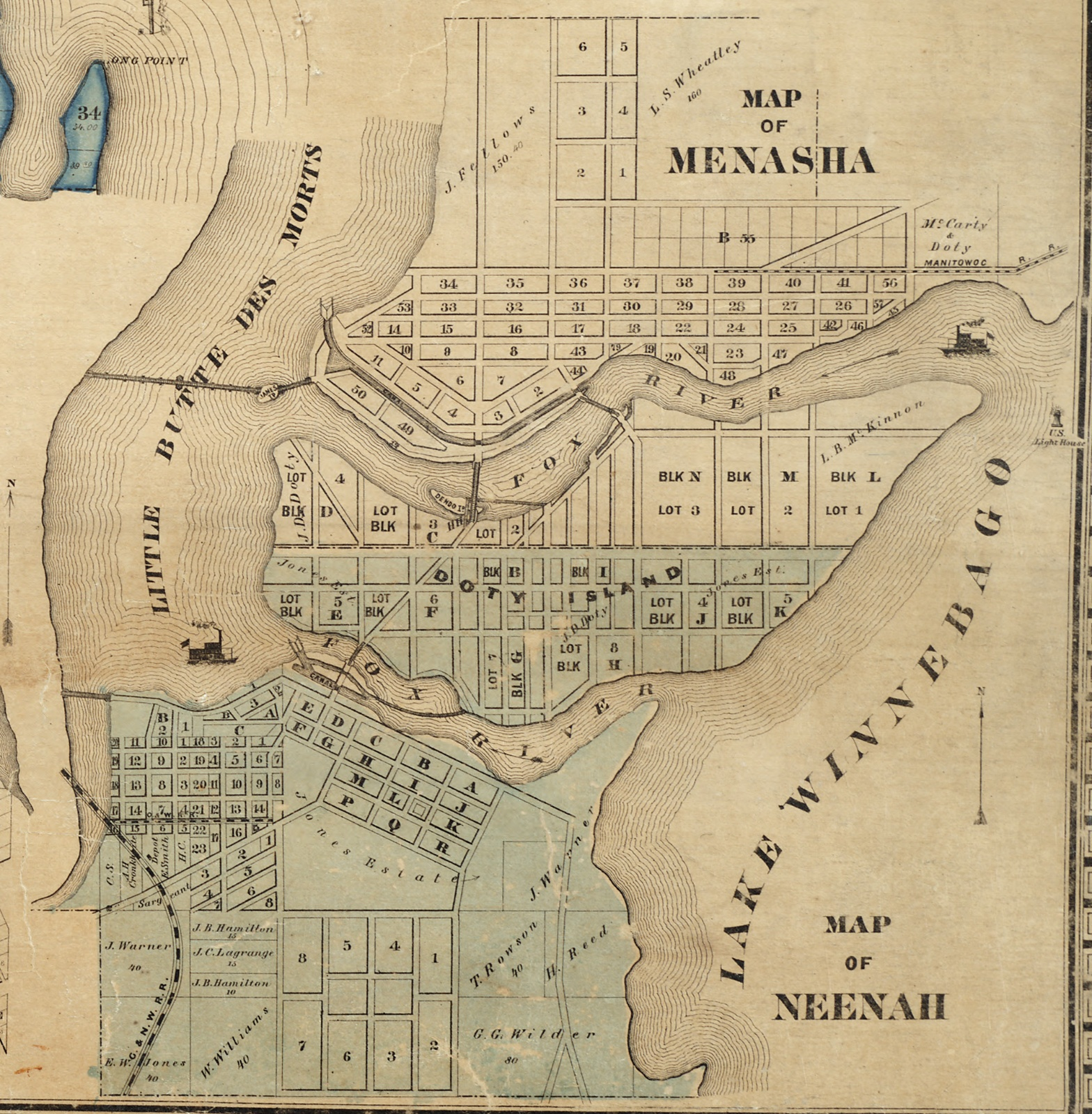 this 1862 map shows dendo island near the tayco street bridge just above block c on doty island in 1730 the french fought the fox indians in a battle near