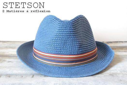 Chapeau paille Stetson bleu chapeau trilby Monett
