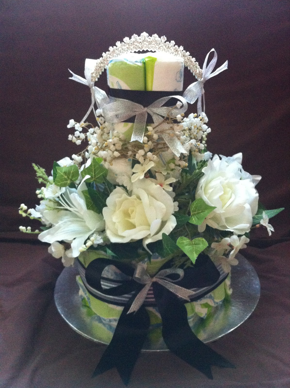 Flower Centerpiece Cake : Nurie s creations diaper cakes baby gifts floral