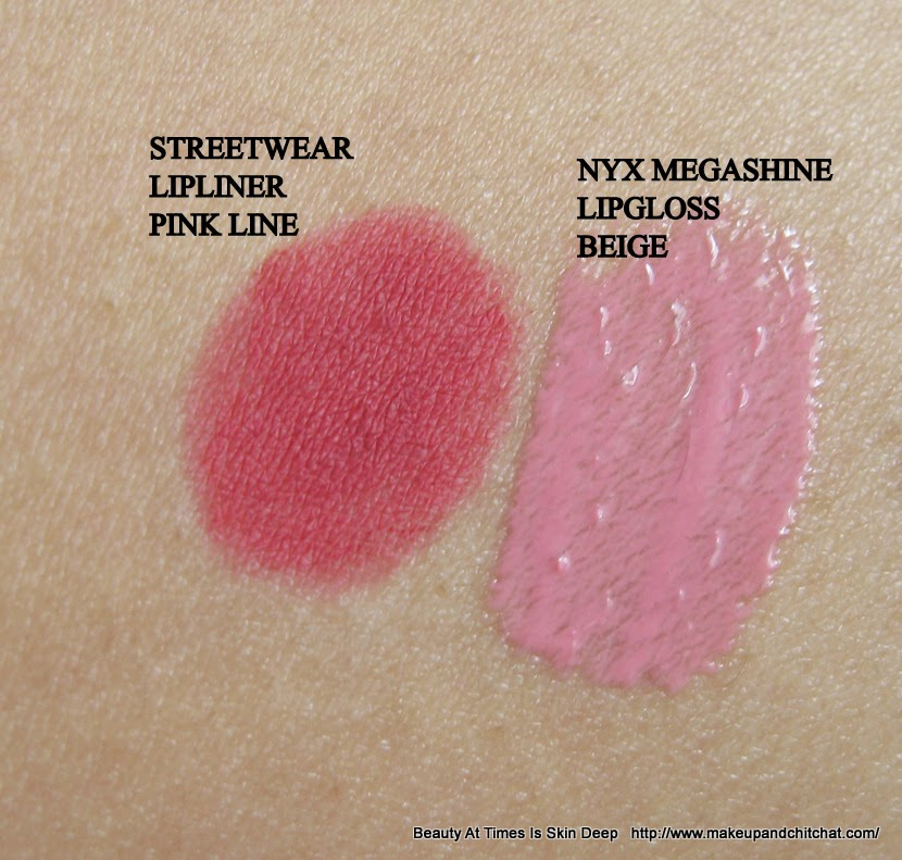 NYX Megashine Lip Gloss Beige and Streetwear Lip Liner Pink Line Swatches