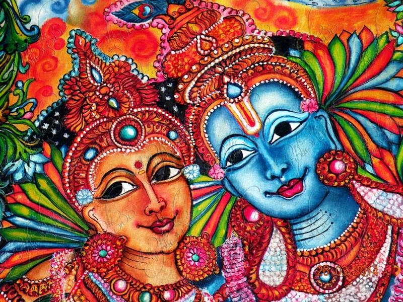 Anjali vilasini radha krishna fabric painting for Buy kerala mural paintings online
