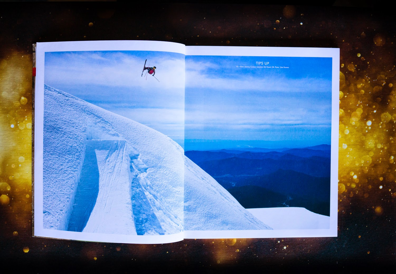 Sammy Carlson blasts on his skis in the side country of mount hood, Oregon for the Tips Up section of Ski Journal.