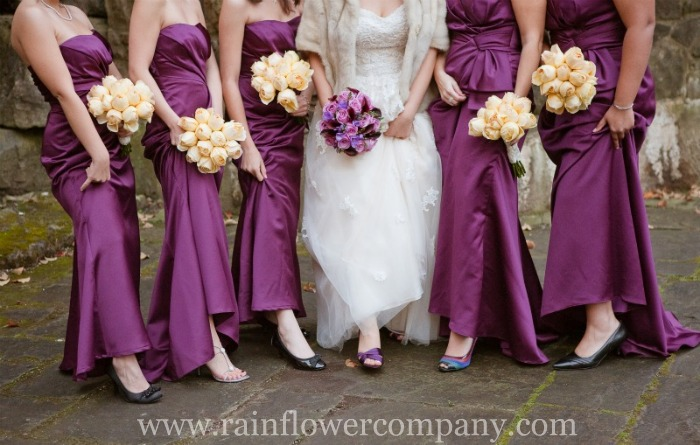 purple flowers wedding bouquets