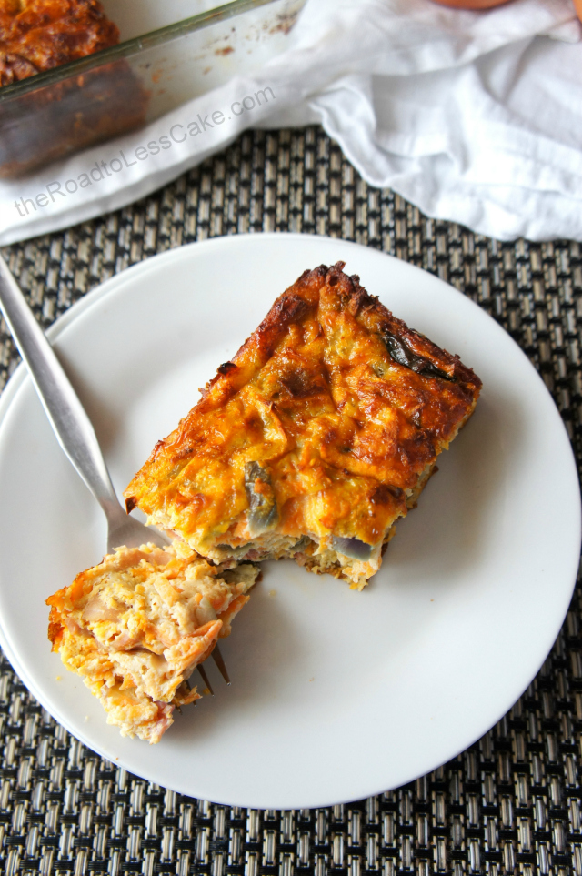 Sweet potato and bacon frittata on a fork