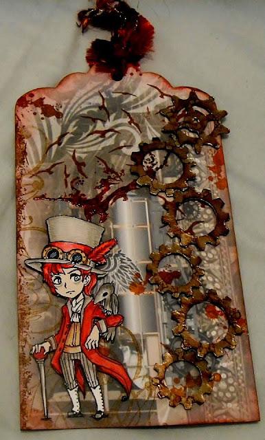 visible image character stamp clara steampunk man