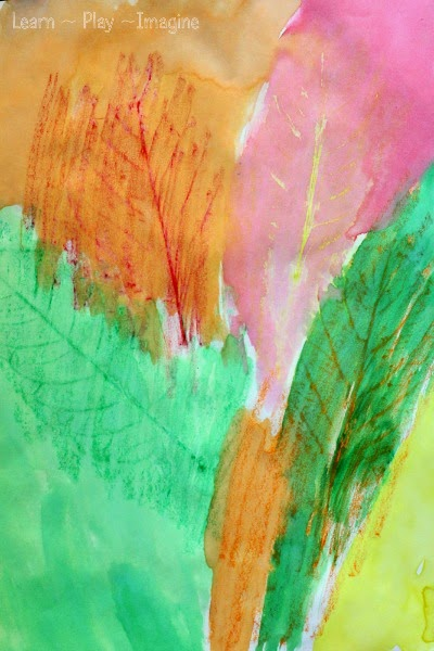 Fall art for kids - making leaf rubbings with crayons and watercolors