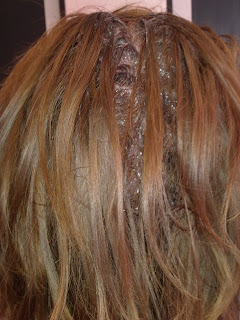colour the hair roots with Wella KP 7/75