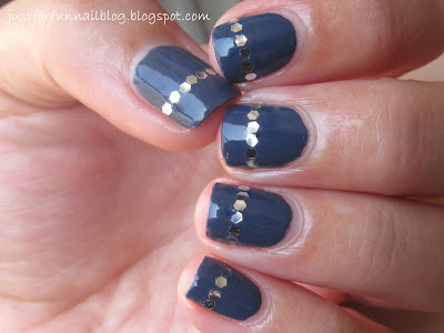 31DC2013 Day 5 - Blue Nails with Zoya Natty & Silver Sequins