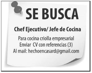 Empleo buscamos chef ejecutivo y jefe de cocina envia tu for Trabajo jefe de cocina