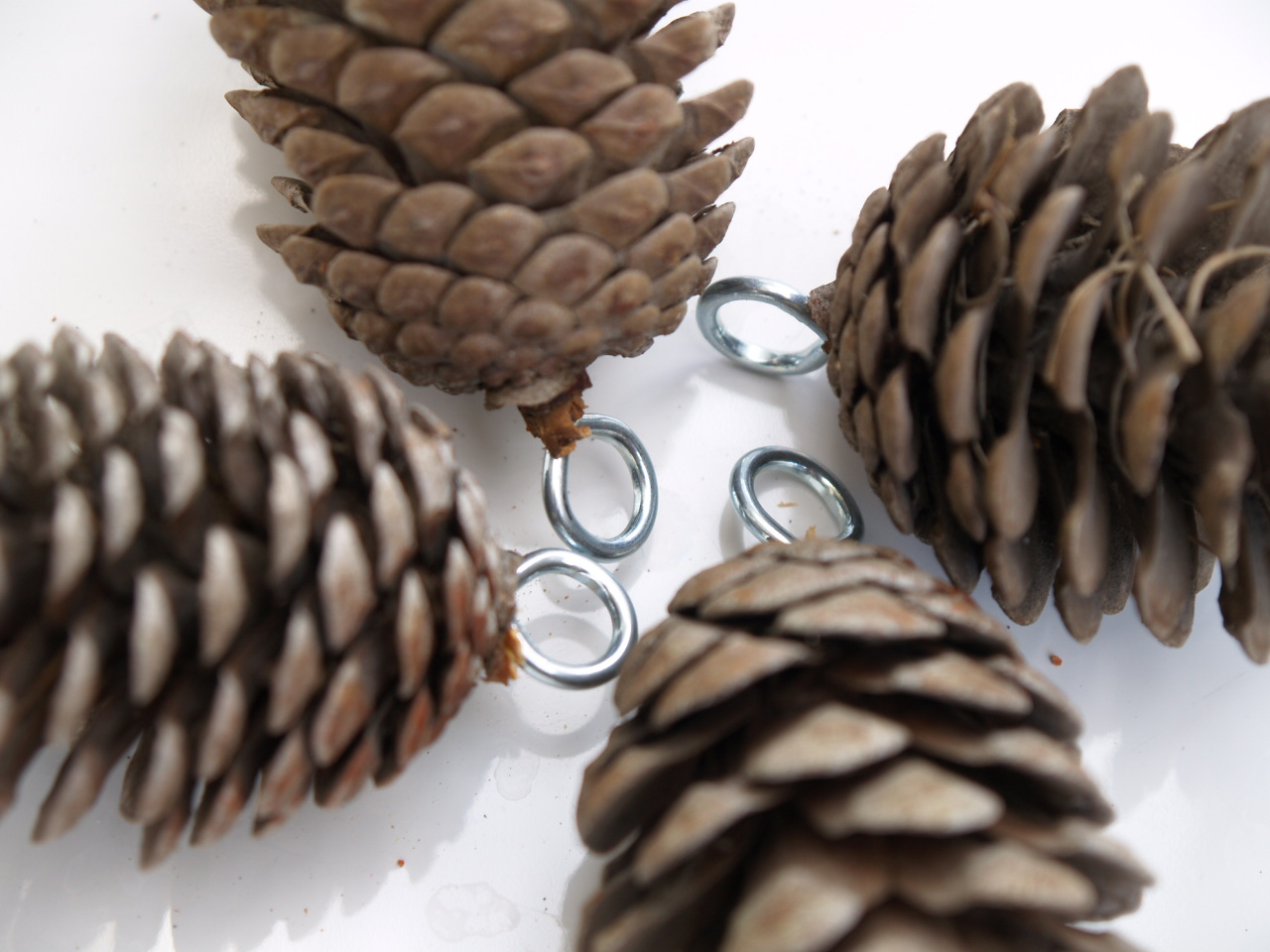 How to make a pine cone garland the magic onions for Craft ideas with pine cones
