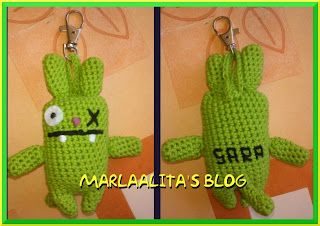 monstruito verde, crochet, ganchillo, ugly bunny charm, amigurimi