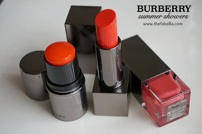 Burberry Beauty Summer Showers Collection, Orange Poppy, Review, Swatch, Lip Glow Balm, Fresh Glow Blush, Nail Polish