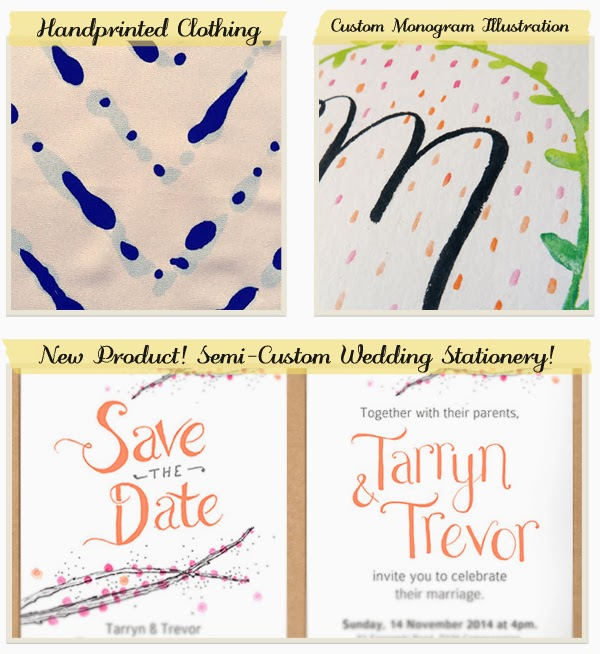 Handmade, handprinted clothing; Custom monogram illustration giveaway; new products - wedding stationery!