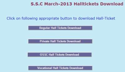 AP SSC/10th Class Hall Tickets 2013