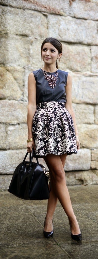 Black and Gold Printed Skirt with Leather Top and Maxi Necklace | Spring Street Outfits