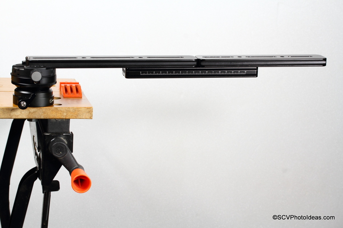Sunwayfoto DYH-66i on workbench w/ elongated rail