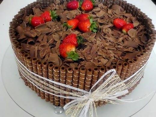 torta chocolate morango doce